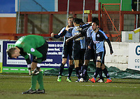 Wycombe Wanderers celebrate 1-1<br /> during the Sky Bet League 2 match between Accrington Stanley and Wycombe Wanderers at the Wham Stadium, Accrington, England on 16 March 2016. Photo by Tony (KIPAX) Greenwood / PRiME Media Images.