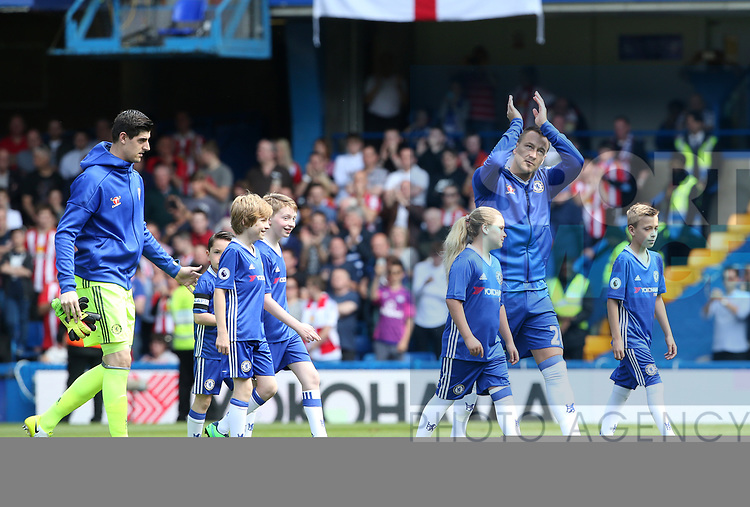 Chelsea's John Terry leads out his team for the final time with his kids during the Premier League match at Stamford Bridge Stadium, London. Picture date: May 18th, 2017. Pic credit should read: David Klein/Sportimage