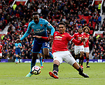 Chris Smalling of Manchester United tackles Danny Welbeck of Arsenal during the premier league match at the Old Trafford Stadium, Manchester. Picture date 29th April 2018. Picture credit should read: Simon Bellis/Sportimage