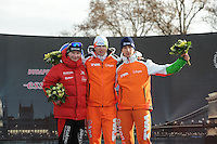 SCHAATSEN: BOEDAPEST: Essent ISU European Championships, 08-01-2012, Podium 1500m Men, Sverre Lunde Pedersen NOR, Sven Kramer NED, Jan Blokhuijsen NED, ©foto Martin de Jong