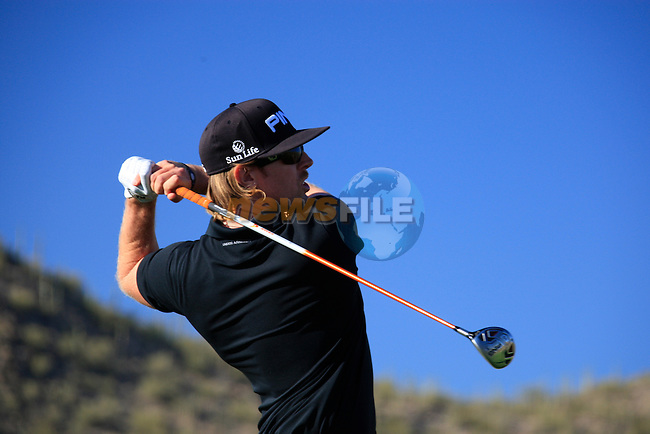 Hunter Mahan (USA) in action on the 18th tee during Day 2 of the Accenture Match Play Championship from The Ritz-Carlton Golf Club, Dove Mountain, Thursday 24th February 2011. (Photo Eoin Clarke/golffile.ie)