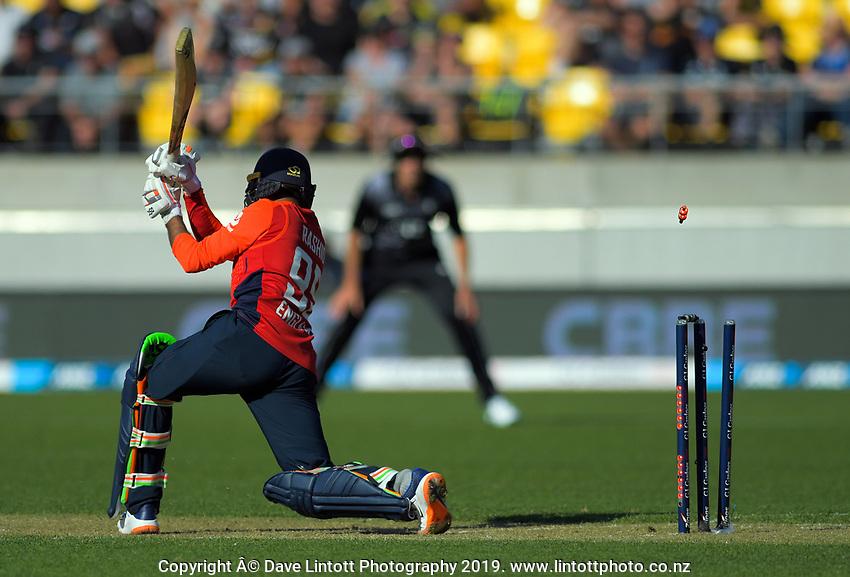 England's Adil Rashid is bowled by Daryl Mitchell. Twenty20 International cricket match between NZ Black Caps and England at Westpac Stadium in Wellington, New Zealand on Sunday, 3 November 2019. Photo: Dave Lintott / lintottphoto.co.nz