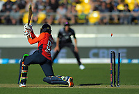 England's Adil Rashid is bowled by Daryl Mitchell. Twenty20 International cricket match between NZ Black Caps and England at Westpac Stadium in Wellington, New Zealand on Sunday, 3 November 2019. Photo: Dave Lintott / lintottphoto.co.nz