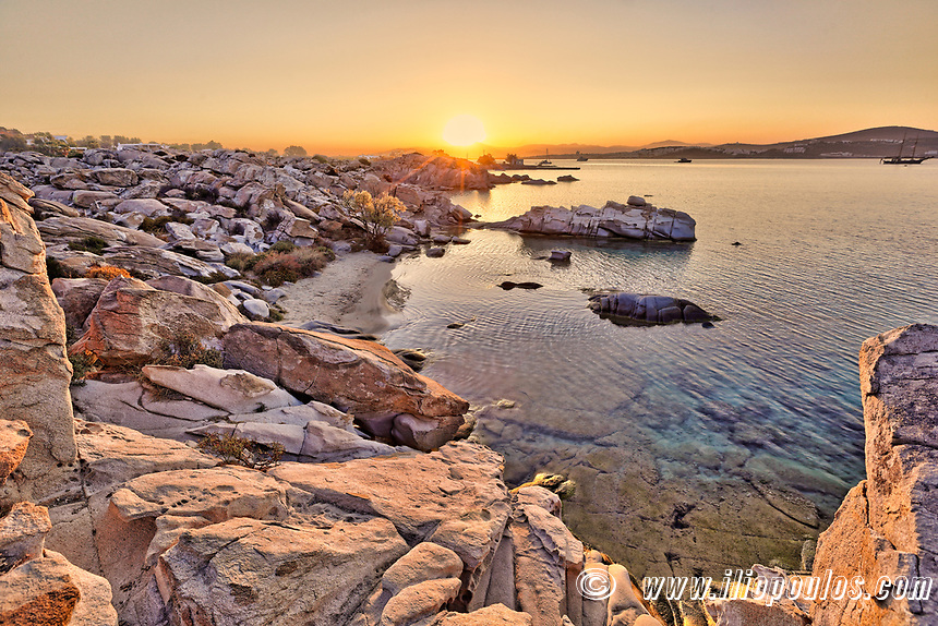 The sunrise in Kolymbithres beach of Paros island, Greece