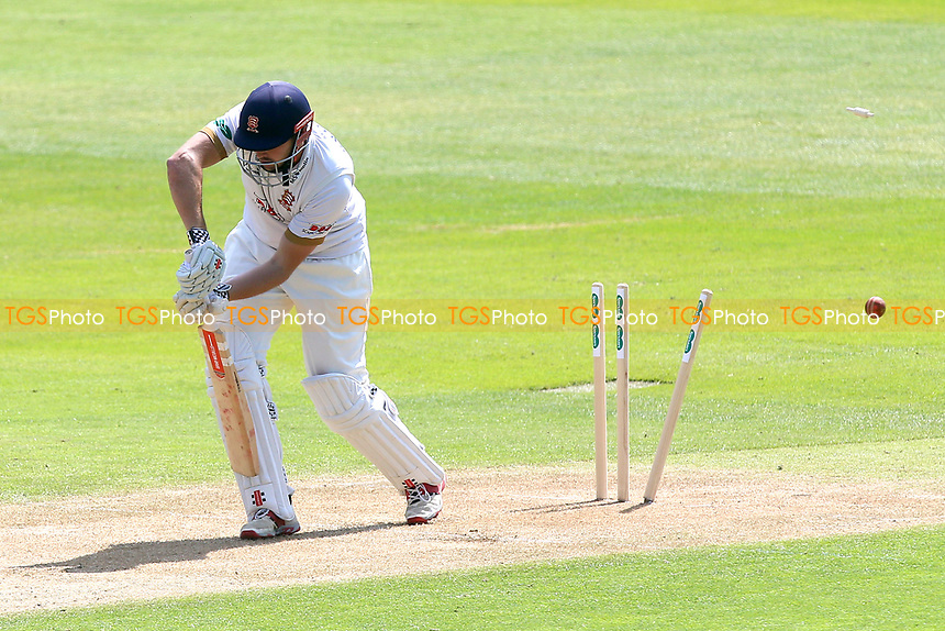 Nick Browne of Essex is bowled out by Ben Coad during Essex CCC vs Yorkshire CCC, Specsavers County Championship Division 1 Cricket at The Cloudfm County Ground on 4th May 2018