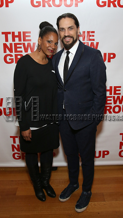 """Audra McDonald and Will Swenson attends the Off-Broadway Opening Night Premiere of  """"Jerry Springer-The Opera"""" on February 22, 2018 at the Roundabout Rehearsal Studios in New York City."""