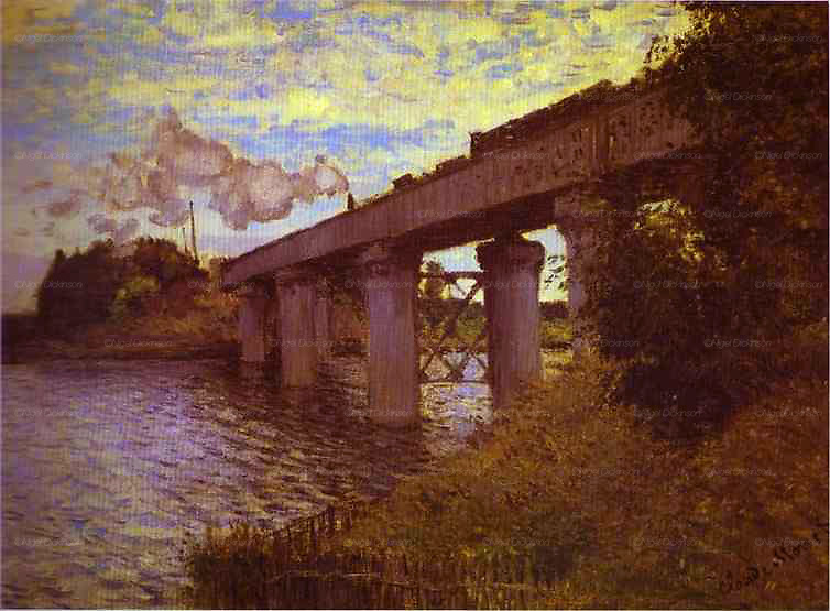 Claude Monet's painting: The Railway Bridge at Argenteuil. 1873. Oil on canvas. Musée d'Orsay, Paris, France. For reference purposes only. This painting refers to images:..monet_argenteuil_france019 - 021...Sites of Claude Monet's paintings in Argenteuil. The famous impressionist painter who lived in this town on the outskirts of Paris, during the 1870's. His home faces the railway station, and is a ten minute walk from the Seine river, and the town centre. He painted many of his most memorable pictures nearby his house, on the riverbanks, of the railway station, bridges around the town and Argenteuil basin.