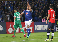 BOGOTÁ - COLOMBIA - 17 - 05 - 2018: Andres Cadavid, jugador de Millonarios de Colombia celebra el gol anotado al Independiente de Argentina , durante partido del grupo G ,fecha 5,  entre Milonarios de Colombia y el Independiente  de Argentina, por la Copa Conmebol Libertadores 2018 jugado  en el estadio Nemesio Camacho El Campín , de la ciudad de Bogotá. / Andres Cadavid, player Millonaros of Colombia ,  celebrates the goal scored to Independente  of Argentina , during match of the Group Stage, group G,  date 5, between Millonarios of Colombia  and Independiente of Argentina  ,played at Nemesio Camacho El Campin Stadium in the city of Bogota. Photos: VizzorImage / Felipe Caicedo / Staff