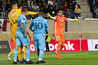 HARRISON, NJ - MARCH 11: Nahuel Guzman #1 of Tigres UANL complains to the referee during a game between Tigres UANL and NYCFC at Red Bull Arena on March 11, 2020 in Harrison, New Jersey.
