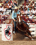 Women's Professional Rodeo Association cowgirl Lindsay Sears turned in the fast women's barrel racing time of 17.24 seconds during the final round action at the 112th annual Cheyenne Frontier Days Rodeo in Cheyenne, Wyoming on July 27, 2008. Lindsay's time 52.69 seconds on three runs earned her the Cheyenne championship buckle.