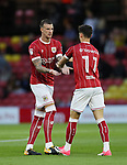 Bristol City's Aden Flint with Callum O'Dowda during the Carabao cup match at Vicarage Road Stadium, Watford. Picture date 22nd August 2017. Picture credit should read: David Klein/Sportimage