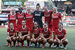 19 June 2015: Portland's starters. Front row (left to right): Kat Williamson, Allie Long, Mana Shim, Sinead Farrelly, Taylor Comeau. Back Row (left to right): McCall Zerboni, Genoveva Ayo Anonma (EQG), Rachel Van Hollebeke Michelle Betos, Emily Menges, Kendall Johnson. The Portland Thorns FC hosted FC Kansas City at Providence Park in Portland, Oregon in a National Women's Soccer League 2015 regular season match. The game ended in a 1-1 tie.