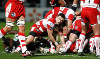 Photo: Richard Lane/Richard Lane Photography. Gloucester Rugby v Stade Toulouse. Heineken Cup. 20/01/2012. Gloucester's Rory Lawson passes.