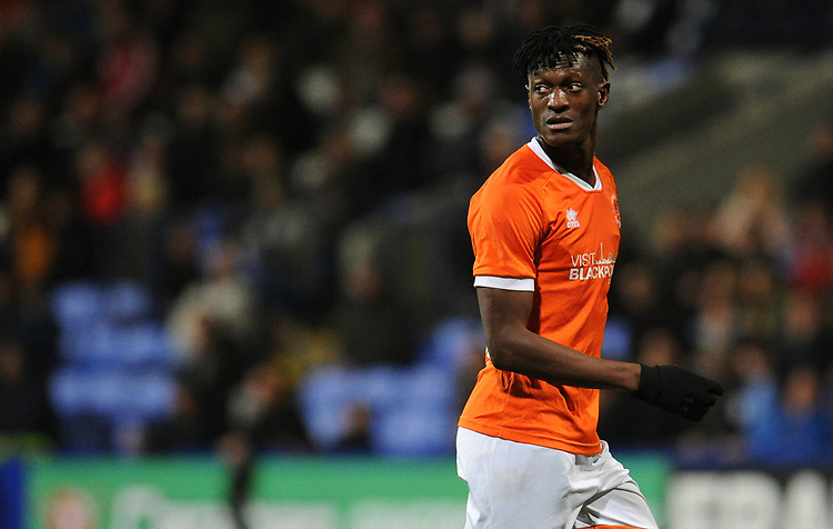 Blackpool's Armand Gnanduillet<br /> <br /> Photographer Kevin Barnes/CameraSport<br /> <br /> The EFL Sky Bet League One - Bolton Wanderers v Blackpool - Monday 7th October 2019 - University of Bolton Stadium - Bolton<br /> <br /> World Copyright © 2019 CameraSport. All rights reserved. 43 Linden Ave. Countesthorpe. Leicester. England. LE8 5PG - Tel: +44 (0) 116 277 4147 - admin@camerasport.com - www.camerasport.com