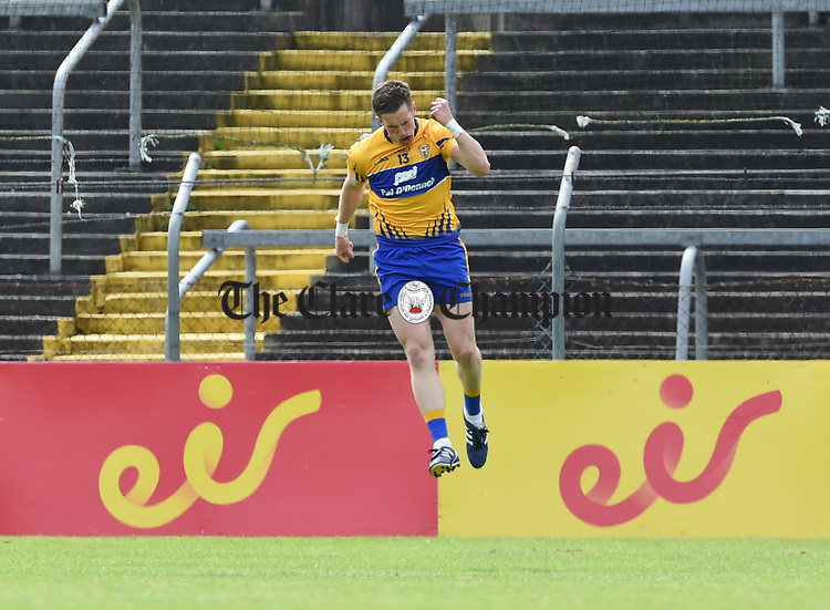 Eoin Cleary of Clare celebrates after he scores an early goal during their Munster championship quarter-final game against Limerick in Cusack park. Photograph by John Kelly.
