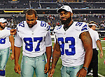 Dallas Cowboys defensive end Jason Hatcher (97) and Dallas Cowboys linebacker Anthony Spencer (93) in action during the pre- season game between the Miami Dolphins and the Dallas Cowboys at the Cowboys Stadium in Arlington, Texas. Dallas defeats Miami 30 to 13...