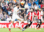 Real Madrid's Daniel Carvajal (l) and Athletic de Bilbao's Benat Etxebarria during La Liga match. February 13,2016. (ALTERPHOTOS/Acero)