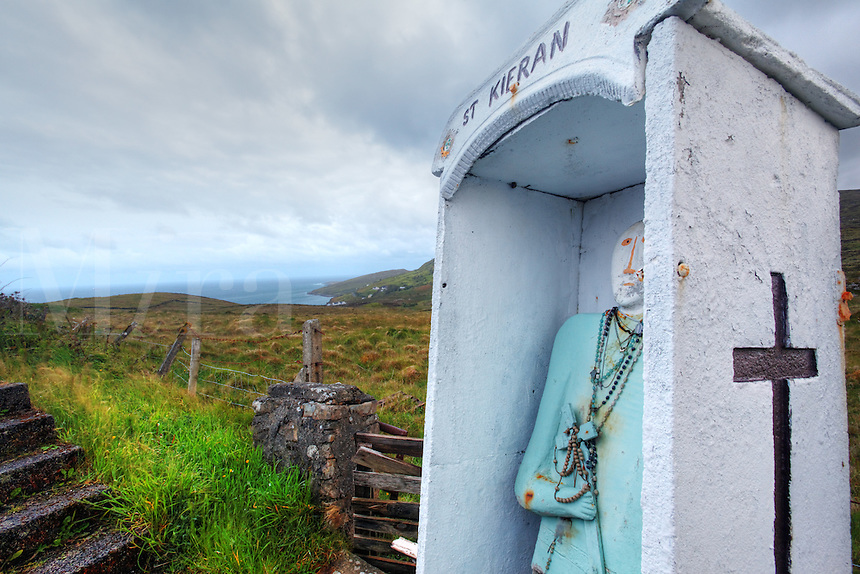 St.Ciaran's Holy Well in Irish landscape, Glencolmcille, County Donegal, Republic of Ireland