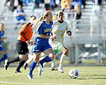 BROOKINGS, SD, OCTOBER 21: Kyli Nelson #2 from South Dakota State controls the ball in front of Drishana Pillay #4 from Oral Roberts during their match Sunday afternoon at Fischback Soccer Field in Brookings. (Dave Eggen/Inertia)