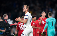 Harry Kane of Spurs applauds support at full time during the UEFA Champions League group match between Tottenham Hotspur and Bayern Munich at Wembley Stadium, London, England on 1 October 2019. Photo by Andy Rowland.