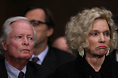 WASHINGTON, DC - SEPTEMBER 27:  Judge Brett Kavanaugh's parents, Everett and Martha Kavanaugh, listen to their son testify before the Senate Judiciary Committee during his Supreme Court confirmation hearing in the Dirksen Senate Office Building on Capitol Hill September 27, 2018 in Washington, DC. Kavanaugh was called back to testify about claims by Christine Blasey Ford, who has accused him of sexually assaulting her during a party in 1982 when they were high school students in suburban Maryland.  (Photo by Win McNamee/Getty Images)