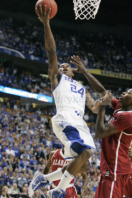 Freshman guard Eric Bledsoe goes in for a lay up during the second half of the UK men's basketball team's 73-67 win over Alabama in the quarterfinals of the SEC tournament at the Sommet Center Friday, March 12, 2010. Photo by Britney McIntosh | Staff