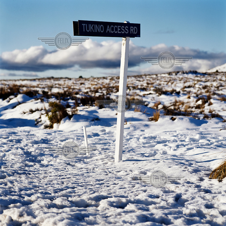 A sign-post makes the road entrance to the Tukino Ski Field from the eastern side of the North Island mountains from State Highway One on the Central Volcanic Plateau.