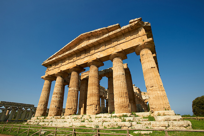 The ancient Doric Greek Temple of Hera of Paestrum  built in about 460-450 BC. Paestum archaeological site, Italy.