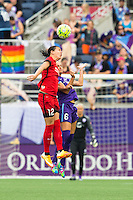 Orlando, FL - Sunday June 26, 2016: Christine Sinclair, Kaylyn Kyle  during a regular season National Women's Soccer League (NWSL) match between the Orlando Pride and the Portland Thorns FC at Camping World Stadium.