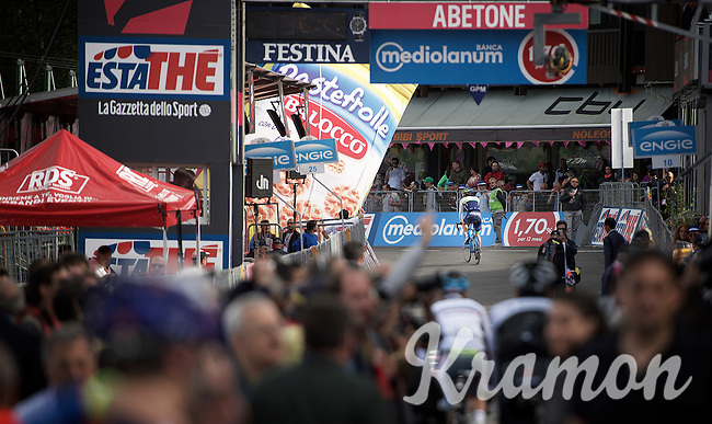 Michael Matthews (AUS/Orica-GreenEDGE) exits the top of the climb/finish to reach the teambusses at the start of the climb asa  <br /> <br /> 2015 Giro<br /> stage 5: La Spezia - Abetone (152km)