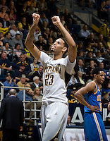 Allen Crabbe of California celebrates during the game against UCLA at Haas Pavilion in Berkeley, California on February 14th, 2013.   California defeated UCLA, 77-63.