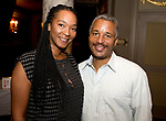 WATERBURY,  CT-062318JS21--Kisha Campbell of East Hartford and Kevin Morrison of Derby, at the &quot;Jazz and Jeans&quot; wine tasting hosted by the Waterbury Chapter of The Links at the Palace Theater in Waterbury. <br />  Jim Shannon Republican American