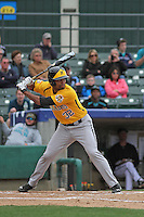 Wichita State Shockers outfielder Micah Green #32 at bat during a game against the Coastal Carolina Chanticleers at Ticketreturn.com Field at Pelicans Ballpark on February 23, 2014 in Myrtle Beach, South Carolina. Wichita State defeated Coastal Carolina by the score of 5-2. (Robert Gurganus/Four Seam Images)