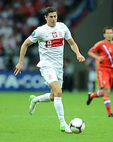 FUSSBALL  EUROPAMEISTERSCHAFT 2012   VORRUNDE Polen - Russland             12.06.2012 Robert Lewandowski (Polen) Einzelaktion am Ball