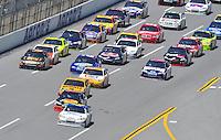 Apr 26, 2009; Talladega, AL, USA; NASCAR Sprint Cup Series driver Juan Pablo Montoya leads the field during the Aarons 499 at Talladega Superspeedway. Mandatory Credit: Mark J. Rebilas-
