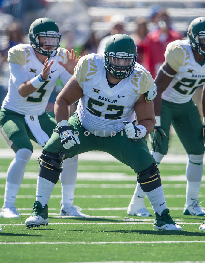 Baylor Bears Rami Hammad (52) during a game against the Kansas Jayhawks on October 10, 2015 at Memorial Stadium in Lawrence, KS. Baylor beat Kansas 66-7.