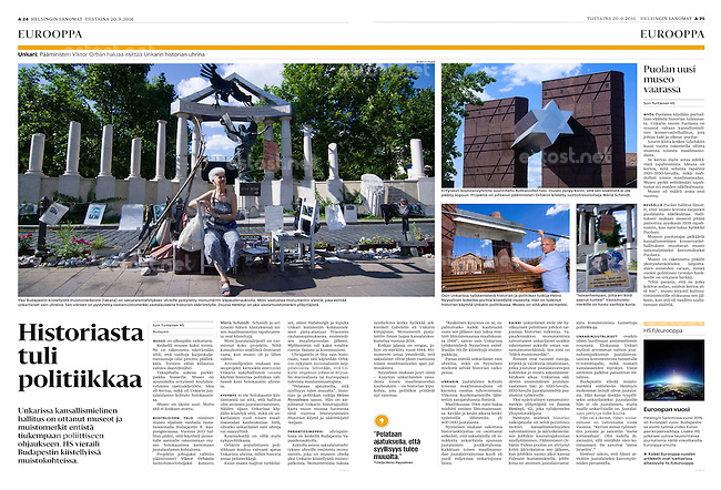 Helsingin Sanomat (leading Finnish daily) on the Hungarian right-wing's historical monument agenda, September 2016<br />
