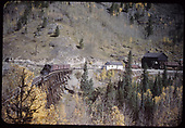 Leased D&amp;RGW #464 with three box cars on RGS Bridge 45-A while switching at Ophir, with depot in background at extreme right.<br /> RGS  Ophir, CO  Taken by Rasmussen, Forest - maybe 10/1950