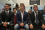 Atletico de Madrid´s President Enrique Cerezo, Caminero and Argentinian Cristian Ansaldi (C) during his presentation as a new Atletico de Madrid´s new player at Vicente Calderon stadium in Madrid, Spain. August 18, 2014. (ALTERPHOTOS/Victor Blanco)
