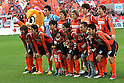 "Omiya Ardija team group line-up, DECEMBER 3, 2011 - Football / Soccer : Omiya Ardija players (Top row - L to R) Takashi Kitano, Naoki Ishihara, Kota Ueda, Kim Young-Gwon, Takuya Aoki, (Bottom row - L to R) Daigo Watanabe, Keigo Higashi, Hayato Hashimoto, Arata Sugiyama, Yuki Fukaya and Kazuhiro Murakami pose for a team photo with the club mascot ""Miya""(L) before the 2011 J.League Division 1 match between Omiya Ardija 3-1 Ventforet Kofu at NACK5 Stadium Omiya in Saitama, Japan. (Photo by Hiroyuki Sato/AFLO)"