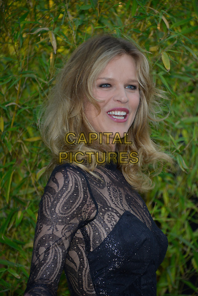 Eva Herzigova<br /> Serpentine Gallery Summer Party, Kensington Park Gardens, London, England.<br /> 26th June 2013<br /> headshot portrait smiling mouth open black lace side  <br /> CAP/PL<br /> &copy;Phil Loftus/Capital Pictures