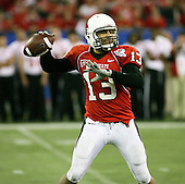 January 5th, 2008:  Ball State quarterback Nate Davis (13) attempts a pass during the fourth quarter of the International Bowl at the Rogers Centre in Toronto, Ontario Canada...Rutgers defeated Ball State 52-30.  ..Photo By:  Mike Janes Photography