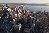 aerial skyline views, Seattle, WA