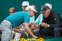 Brandon Stone (RSA) speaking to Gary Player on the first tee during the first round at the Nedbank Golf Challenge hosted by Gary Player,  Gary Player country Club, Sun City, Rustenburg, South Africa. 08/11/2018 <br /> Picture: Golffile | Tyrone Winfield<br /> <br /> <br /> All photo usage must carry mandatory copyright credit (&copy; Golffile | Tyrone Winfield)