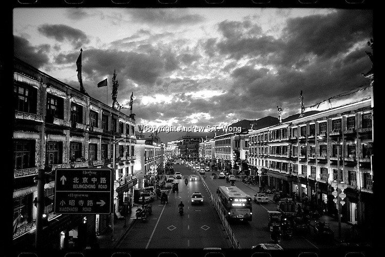 A general view of the Beijing East Road during sunset in Lhasa, Tibet, September 2016.