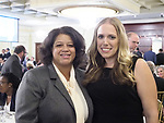 New Hyde Park, New York, USA. October 23, 2017. Assemblywoman MICHAELLE SOLAGES and Democratic candidate SUE MOLLER, running for Hempstead Town Council, District 6, attend Nassau County Democratic Committee Annual Fall Dinner, at Inn at New Hyde Park.
