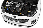 Car Stock 2016 KIA Sportage GT-Line 5 Door Suv Engine  high angle detail view