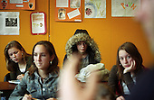 Wealthy Dutch teenagers attend lesson at a school in Bussum, in the affluent Gooi region in the centre of the Netherlands. The teachers and students are pre-dominantly white...Picture shot in Amsterdam in 2004 by Justin Jin. ..