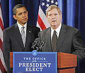 Chicago, IL - December 17, 2008 -- United States President-elect Barack Obama. left. listens as former Iowa Governor Tom Vilsack, right, speaks after Obama named Vilsack his choice for Secretary of Agriculture at a news conference in the Drake Hotel in Chicago, Illinois, USA 17 December 2008. Obama continues to put together his cabinet as he prepares to take office 20 January 2009..Credit: Tannen Maury - Pool via CNP