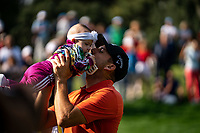 Sergio Garcia (ESP) lifts his baby girl Azalea after winning his 3rd Valderrama Masters at the end of Monday's storm delayed Final Round 3 of the Andalucia Valderrama Masters 2018 hosted by the Sergio Foundation, held at Real Golf de Valderrama, Sotogrande, San Roque, Spain. 22nd October 2018.<br /> Picture: Eoin Clarke | Golffile<br /> <br /> <br /> All photos usage must carry mandatory copyright credit (&copy; Golffile | Eoin Clarke)
